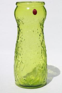 Tiara Exclusives huge green glass floor vase for branches or flowers, 70s 80s vintage