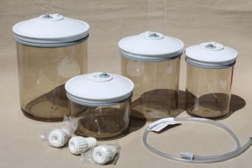 Tilia FoodSaver canisters, smoke plastic vacuum seal food saver storage jars