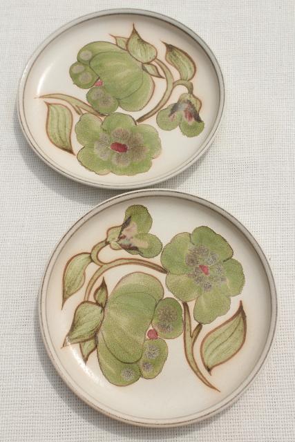 & Troubadour Denby England 60s 70s vintage pottery plates w/ green flowers