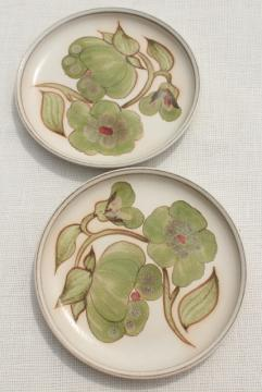 Troubadour Denby England 60s 70s vintage pottery plates w/ green flowers