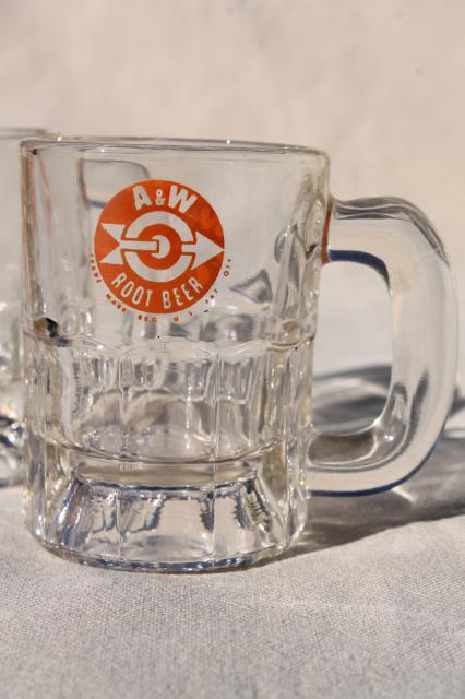 Vintage A&W root beer mugs, glass mug lot w/ different old A & W advertising logos