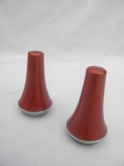 WMF vintage art deco S&P set, red enamel metal salt and pepper shakers