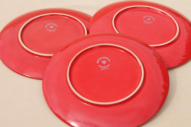 Waechtersbach pottery freestyle Paradise orange flowers on red, mod vintage salad plates