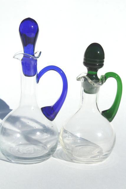 Blue Glass Stoppered Bottles