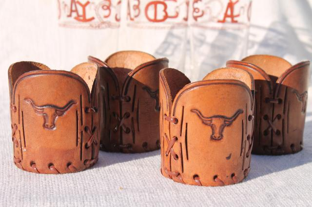 Western tooled leather cowboy cattle brands & rope pattern drinking glasses & holders