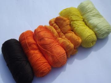 Acrylic yarn harvest colors lot, warm gold, orange, brown, ivory