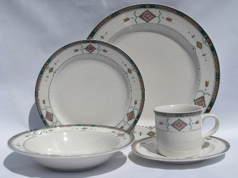 & Adirondack pattern Mikasa / Studio Nova pottery dinnerware dishes lot