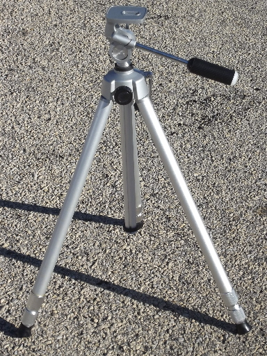 Adjustable aluminum camera tripod, original vintage Japan box, 70s 80s retro