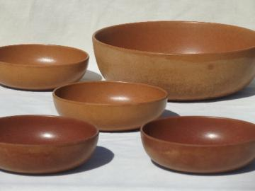 Agatized wood melamine bowls, retro mid-century vintage salad set