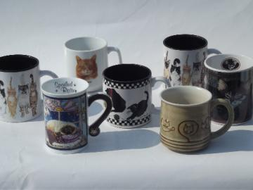 All cats coffee cups mugs lot, kitties & kittens, Morris the cat!