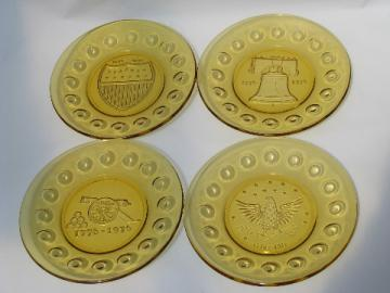 Amber glass 1976 bicentennial colonial theme plates
