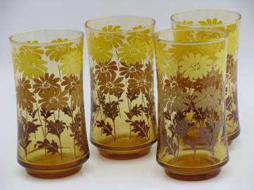 Amber gold 70s vintage Libbey glass tumblers w/ retro daisies print