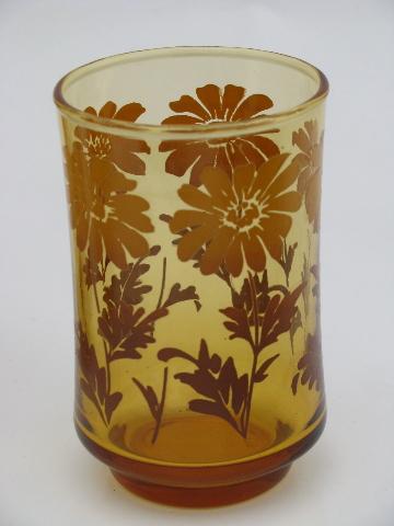 Amber Gold 70s Vintage Libbey Juice Glasses W Retro