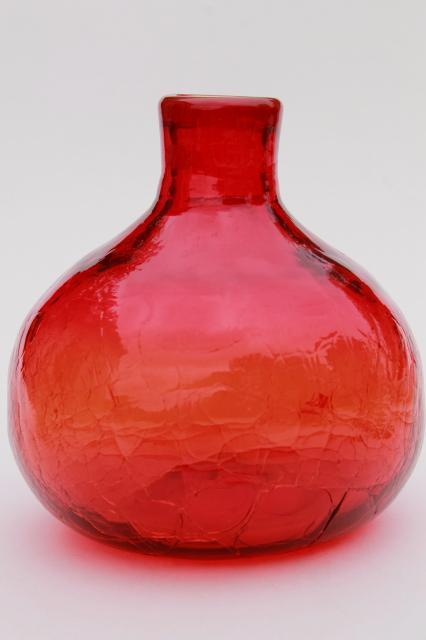 Amberina Red Crackle Glass Genie Bottle Mod Vintage Blenko Glass