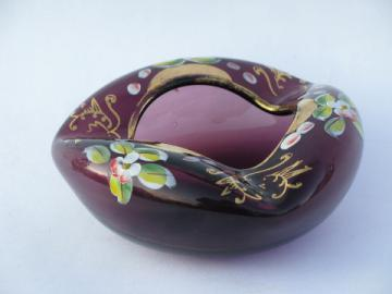 Amethyst purple glass ashtray w/ hand-painted enamel flowers, vintage Germany?
