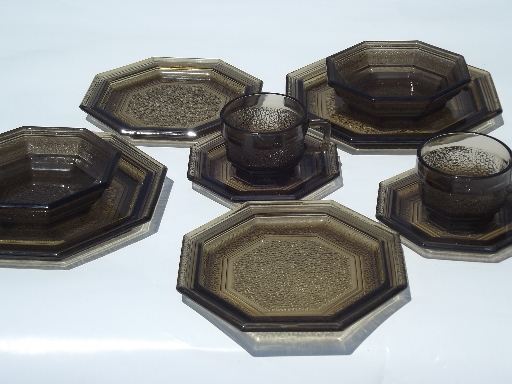 & Anchor Hocking brown glass octagon dishes 70s vintage dinnerware set