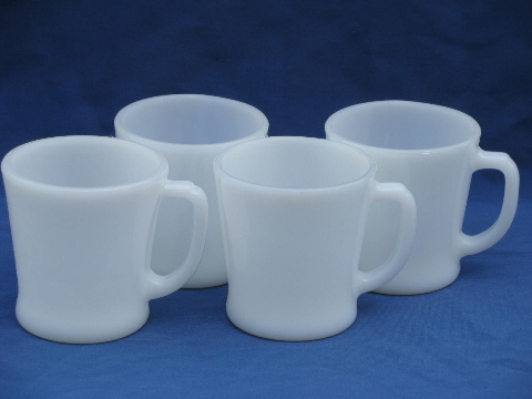 Anchor Hocking Fire King Vintage White Glass Coffee Mugs