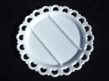 Anchor Hocking milk glass tray, retro vintage lace edge serving plate