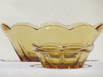 Anchor Hocking Swedish Modern amber glass bowls,  vintage chip & dip set