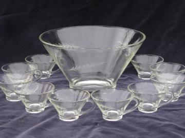 Anchorglas etched wheat spray retro mod punch bowl & cups set