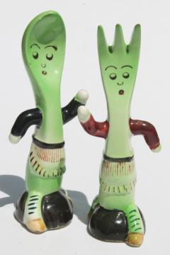anthropomorphic spoon & fork salt and pepper, vintage Japan hand-painted S&P shakers set