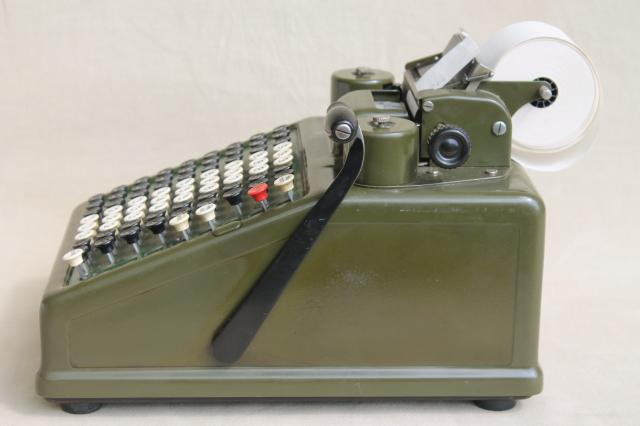 Antique Burroughs Adding Machine Olive Drab Industrial