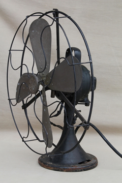 Antique GE brass blade fan, vintage industrial fan w/ loop handle AOU AF2