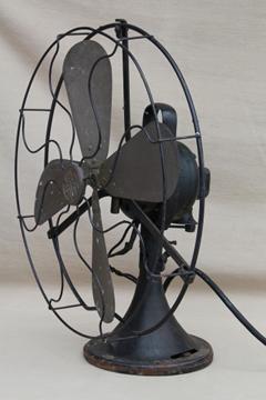 Antique GE brass blade fan, vintage industrial fan w/ loop handle AOU AF2