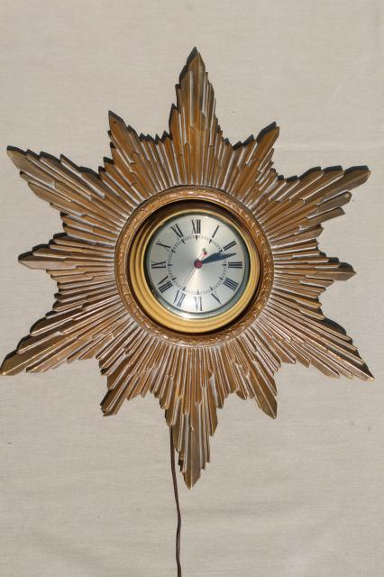 Antique Gold Starburst Sun Frame Wall Clock Art Deco Hollywood Regency Vintage