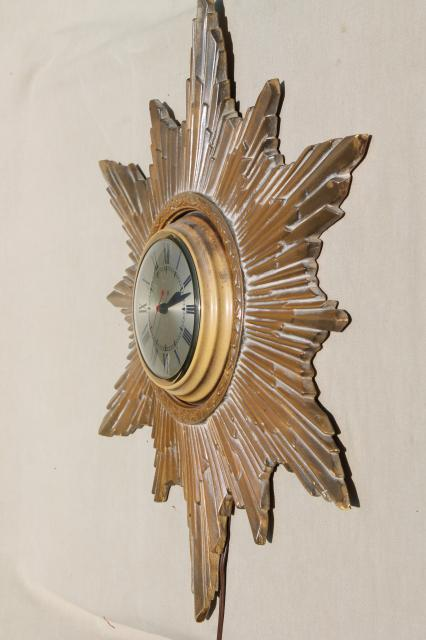 antique gold starburst sun frame wall clock, art deco hollywood regency vintage