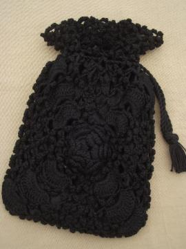 Antique Irish crochet lace handbag, Victorian ladies purse black mourning