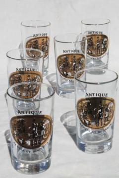 Antique Kentucky Bourbon whiskey glasses set, vintage distillery glasses