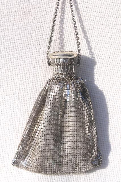 Antique Misers Purse 20s Vintage Whiting Davis Silver Metal Mesh Evening Bag