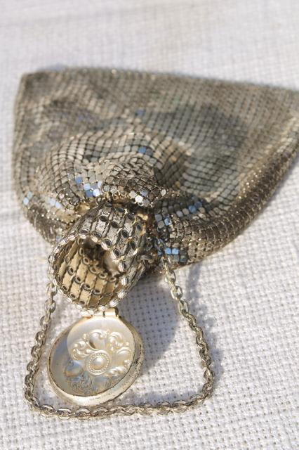 antique misers purse, 20s vintage Whiting & Davis silver metal mesh evening bag