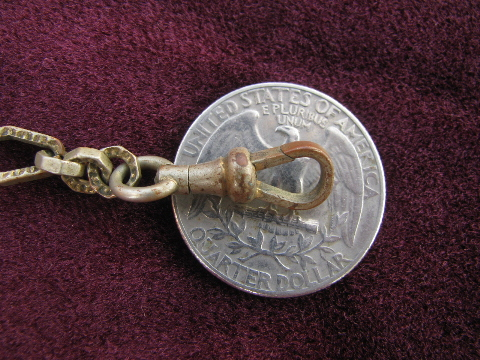 Antique pocket watch chain w/ letter H monogram bakelite watch fob
