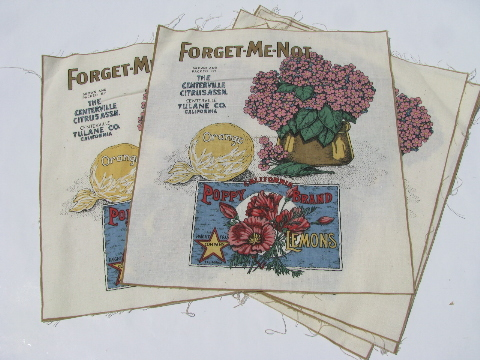 Antique vintage flower&vegetable garden seed packets print, cotton fabric & cut&sew aprons lot