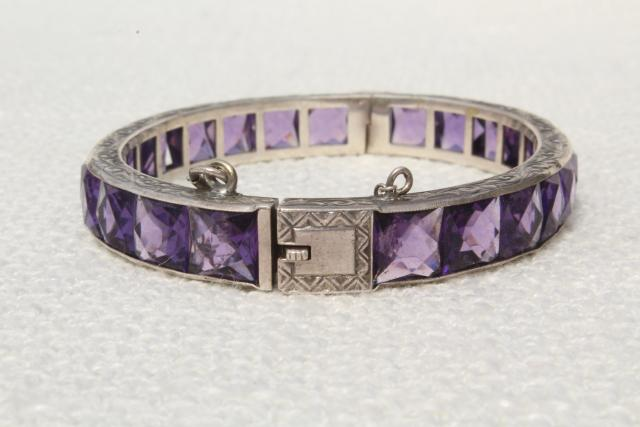 antique vintage sterling silver hinged bangle bracelet w/ safety chain clasp, amethyst rhinestones