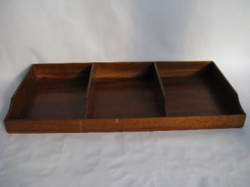 Antique wood desk divider vintage paper tray