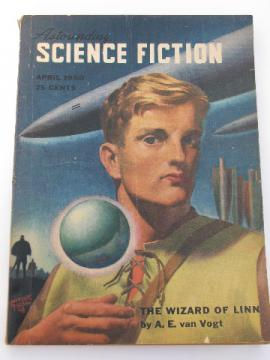April 1950 sci-fi magazine Astounding Science Fiction, pulp cover art