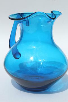 aqua blue hand blown glass pitcher, vintage Mexican glass water, lemonade, or cocktail pitcher