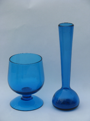 Aqua Blue Hand Blown Art Glass Vases Mod Tall Short Shapes 60s Italy