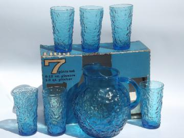 Aqua blue Lido mod vintage crinkle glass pitcher & iced tea glasses in box