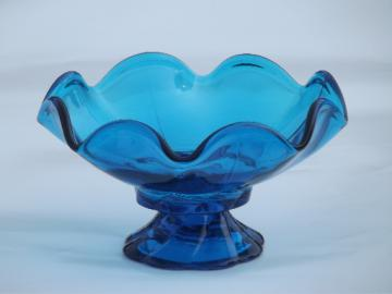 Aqua blue swirl candle holder, retro 60s vintage art glass candlestick