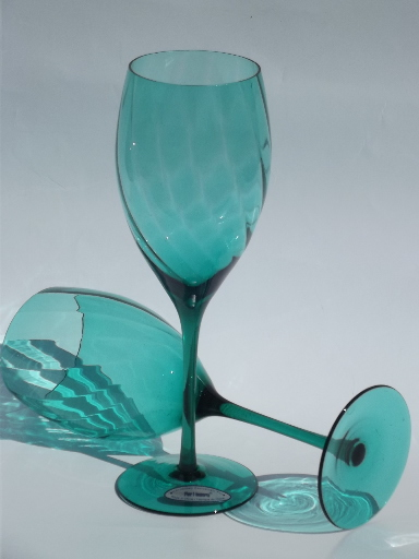 Aqua Teal Green Glass Wine Glasses Optic Swirl Pier 1