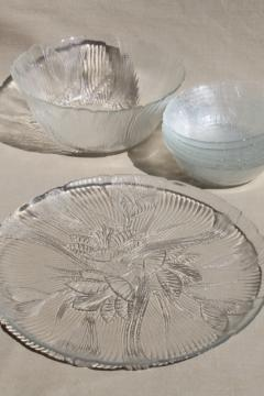 Arcoroc clear glass salad set bowls, crocus floral Canterbury Spring breeze bouquet