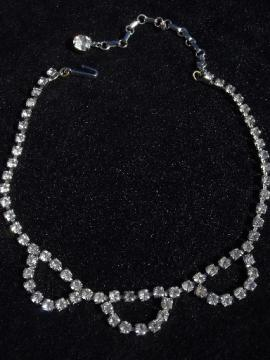 Art deco rhinestone choker collar necklace, 30s, 40s or 50s vintage