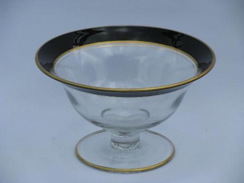 c0b7a5b1b8129 Art deco vintage 1920s- 30s black band gold trimmed glass bowl ...