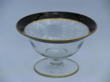 Art deco vintage 1920s- 30s black band gold trimmed glass bowl, flared shape