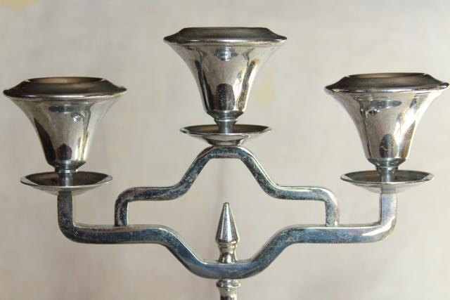 art deco vintage Farberware chrome silver candelabra, pair branched candlesticks