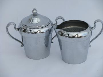 Art deco vintage Chromium cream & sugar set, chrome plated Cromwell Silver